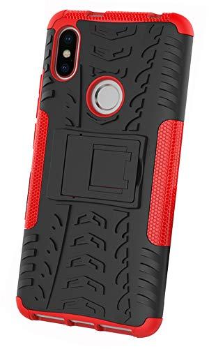 XINFENGDI Xiaomi Redmi S2 Hülle,Handytasche Kratzfest aus TPU/PC Material Reifenprofil Handyhülle Kompatibel mit für Xiaomi Redmi S2 - Rot