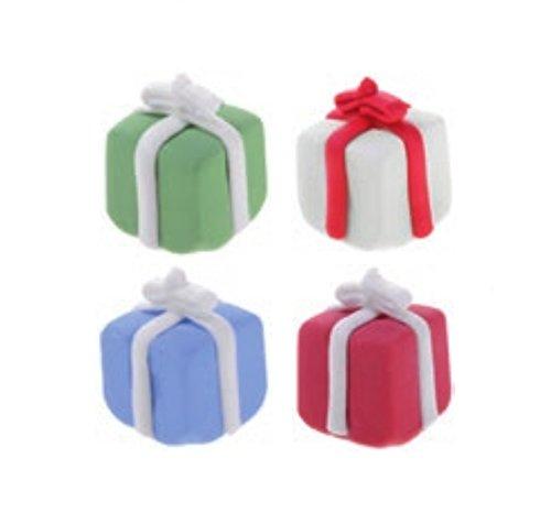 Kit 8 scatola PACCHETTO REGALO in ZUCCHERO - personaggi in zucchero NATALE, compleanno ecc. - decorazione natalizia per torte e dolci - 8 pezzi - colore casuali