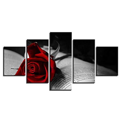 120Tdfc Libro De Flores De Rosa RojaXXL Modernos Cuadros Decoracion Salon 5 Piezas Cuadro sobre Lienzo Pintura Lienzo HD Impresión Estilo Abstracto