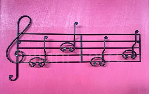 Perchero notas musicales con 4 ganchos de hierro barnizado