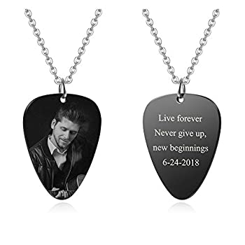 Personalized Master Custom Photo Necklace Stainless Steel Guitar Pick Engraved Picture Naclace Valentine s Day Birthday Gift for Womens Mens