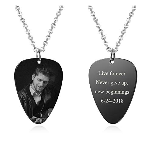 Personalized Master Custom Photo Necklace Stainless Steel Guitar Pick Engraved Picture Naclace Valentine's Day Birthday Gift for Womens Mens