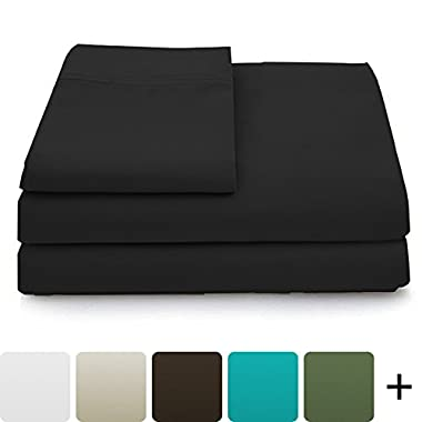 Luxury Bamboo Sheets - 4 Piece Bedding Set - High Blend From Organic Bamboo Fiber - Soft Wrinkle Free Fabric - 1 Fitted Sheet, 1 Flat, 2 Pillow Cases - Queen, Black