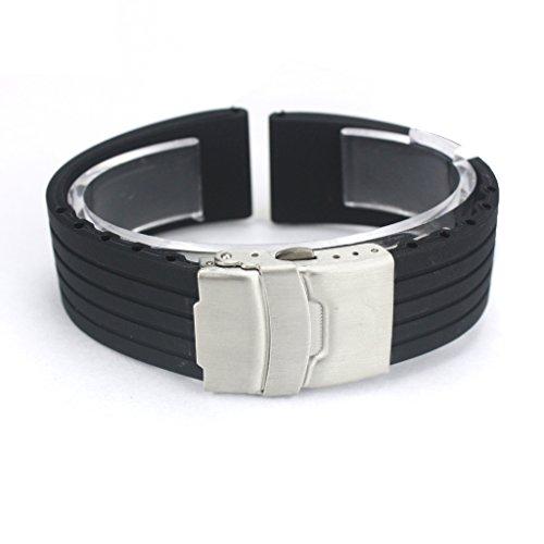 Fenrad 18mm Nero Strisce Cinturino in Silicone Sport Impermeabili Watch Band Polso Bracciale con Fibbia di Chiusura Rubber Wristband Braccialetto Cinghia Orologio Strap Bracelet(Black 18mm)