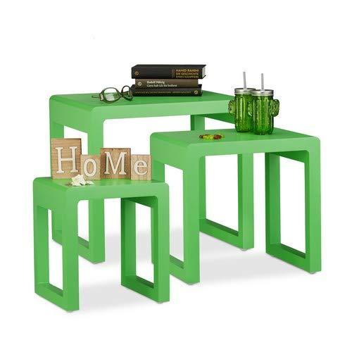Relaxdays set van 3, bijzettafeltjes stapelbaar, mat gelakte houten tafel in elegant design, groen