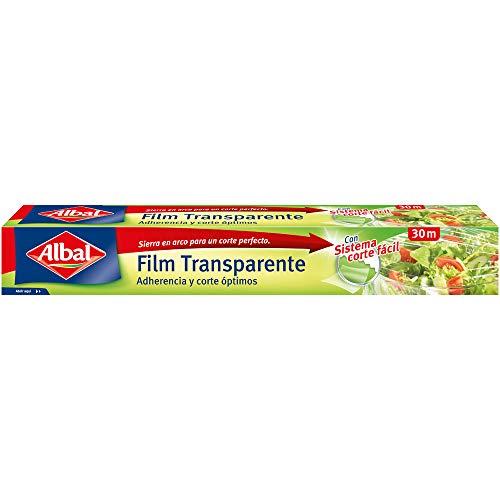 Albal Film transparente para uso alimentario, extra ancho 32 cm, fácil de cortar, 30 m