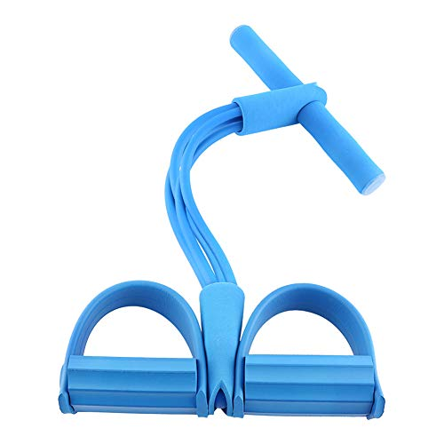 Dibiao Yoga Resistance Bands Elastic Sit Up Rope Pedal Resistance Band 4-Tube Sit-up Expander Elastic Pull Rope Fitness Tool for Abdomen Waist Arm Stretching Slimming Training