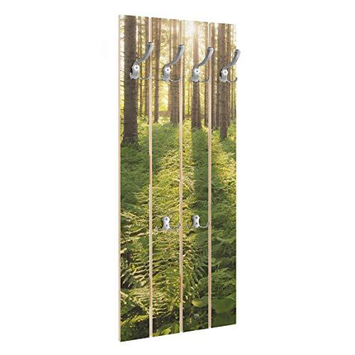 Bilderwelten Wandgarderobe Holz - Sonnenstrahlen in grünem Wald - Haken Chrom, 100x40 cm