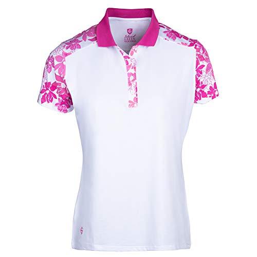 Island Green Damen Poloshirt Iris Blumendruck Wicking Atmungsaktiv Kurzarm Poloshirt Top Golf Shirt XL Weiß/Hot Pink