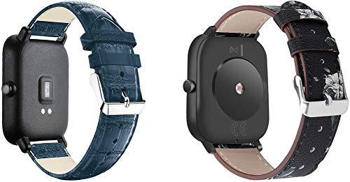 Gransho 22mm Armbänder Armband Leder, Schlank Ersatzband Band Uhrenarmband (22mm, 2PCS C)