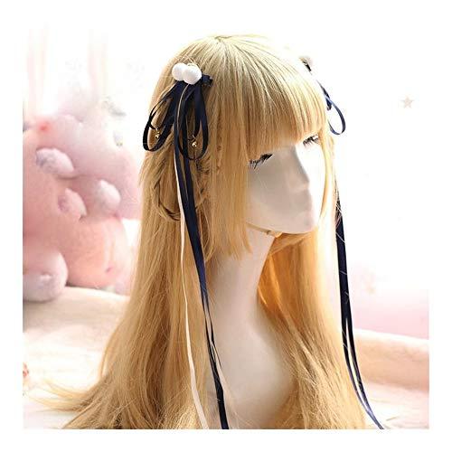 Clip De La Cinta De Estilo Chino De Pom Pom Campana Cosplay Accesorios De Pelo Hanfu Kimono Accesorios Mujeres Headwear Side Cintas para el Pelo (Color : 1)