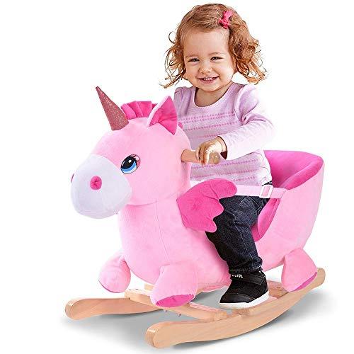 BAKAJI Unicorno a Dondolo Cavalcabile Peluche Giocattolo per Bambini con Effetti Sonori...