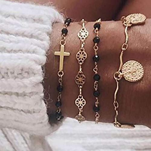 Flrora Pulsera de cuentas con cuentas de oro con cruz de Jesús, joyería para mujeres y niñas