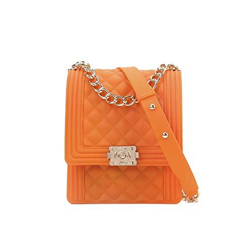 Xiaobei Bolsa de Arco Iris de Las señoras Bolsa de Cadena Oblicua Femenino Plaid Flip Verano Hermosa Bolsa de teléfono móvil Multifuncional Messenger Bag-Naranja