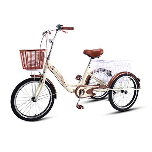 OFFA Triciclo Adulto De 3 Ruedas, Triciclos, 7 Velocidad De Tres Ruedas Ciclismo De Crucero, Bicicleta con Cesta De Gran Tamaño para IR De Compras, Triciclo De 20 Pulgadas para Hombres, Mujeres