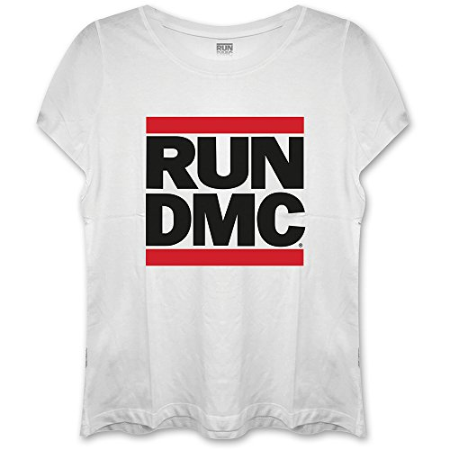 Rockoff Trade Damen Run Dmc Logo Fitted T-Shirt, weiß, Small