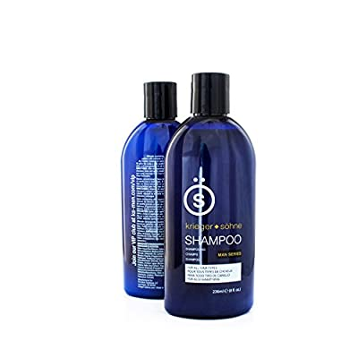 Shampoo for Mens Hair - Contains Invigorating Tea Tree Oil - Krieger + Söhne Man Series - For All Hair Types - Exploit Your Style - 16 Ounce Bottle