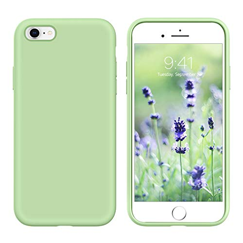 GUAGUA iPhone 6s Case iPhone 6 Case Liquid Silicone Soft Gel Rubber Slim Thin Light Microfiber Lining Cushion Texture Cover Shockproof Full Body Protection Phone Cases for iPhone 6/6S Matcha Green