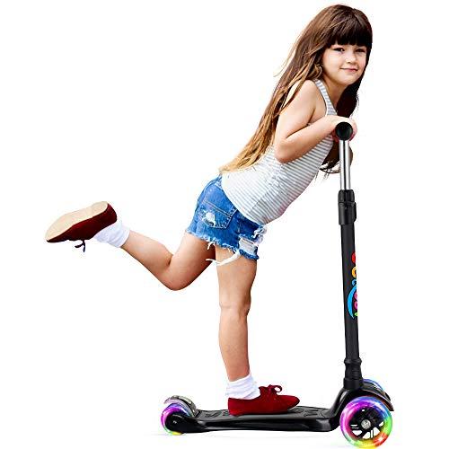 BELEEV Kinderscooter Dreirad für Kinder Kleinkinder Mädchen und Jungen, kinderroller von 3 bis 12 Jahren, 3 LED Räder Roller Scooter mit 4 Höhenverstellbare und Verstellbare Lenker(Schwarz)