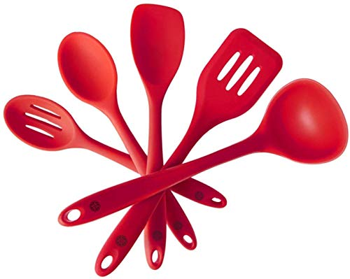 StarPack Premium Silicone Kitchen Utensil Set 5 Piece Set 105 - High Heat Resistant to 600°F Hygienic One Piece Design Spatulas Serving and Mixing Spoons Cherry Red