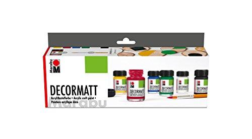 Marabu 1401000000087 - Decormatt Acryl Starterset, samtmatte Acrylfarbe auf Wasserbasis, cremig und farbintensiv, speichelfest, wetterfest, zum freien Malen und Schablonieren, 6 x 15 ml Farbe + Pinsel