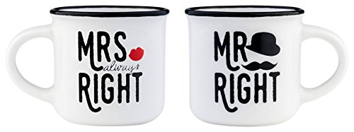 Legami Espressotassen, mehrfarbig, 5,5x 5,5x 5cm Mrs&Mr Right 5.5x5.5x5 cm mehrfarbig