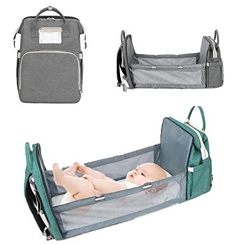 UMYMAYDO1 Baby Wickelrucksack mit Faltbarem Kinderbett, Wickeltasche mit Wickelunterlage, Multifunktionale Große Kapazität Wasserdichte Babyrucksack mit Kinderwagengurten, Reiserucksack für Unterwegs