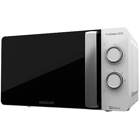 Cecotec - Microonde nero, 20 L, 6 livelli, tecnologia 3DWave, 700 W, effetto specchio, rivestimento Ready2Clean per una pulizia facile (Bianco)