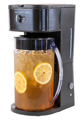 HomeCraft HCIT3BS 3-Quart Black Stainless Steel Café' Iced Tea And Iced Coffee Brewing System, 12 Cups, Strength Selector & Infusor Chamber, Perfect For Lattes, Lemonade, Flavored Water, Large Pitcher