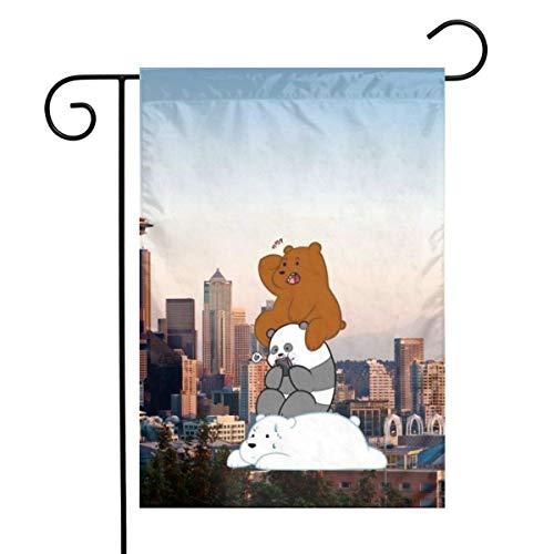 Not Applicable Familienfeier Flagge, Stadt Hintergrund und neugierige Bärengarten Flaggen Ostern Hinterhof Flagge 32x45.7cm