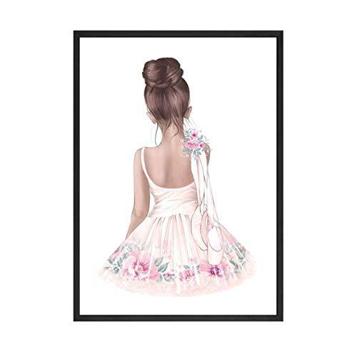 Ballett Tanz Mädchen Baby Kinderzimmer Wandkunst Leinwand Poster und Drucke Rosa Cartoon Malerei Nordische Kinder Dekoration Bild Raum Dekor (50x70 cm ohne Rahmen)