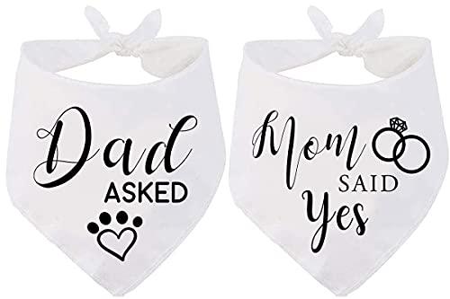 Dad Asked and Mom Said Yes Dog Bandana, Wedding Engagement Photos...