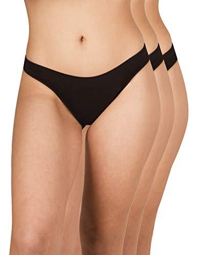 A.A UNDERWEAR Damen Baumwolle Modal Ultra Weicher Bikini Slip, Mit Schmalem Unsichtbarem Elastikband Innen, 3-er Pack (Schwarz, L)