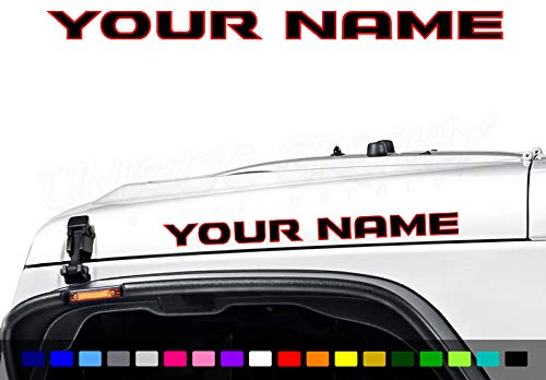Unique Graphix - Custom Hood Decals Vinyl Lettering JK Style 1 Pair 2 Color