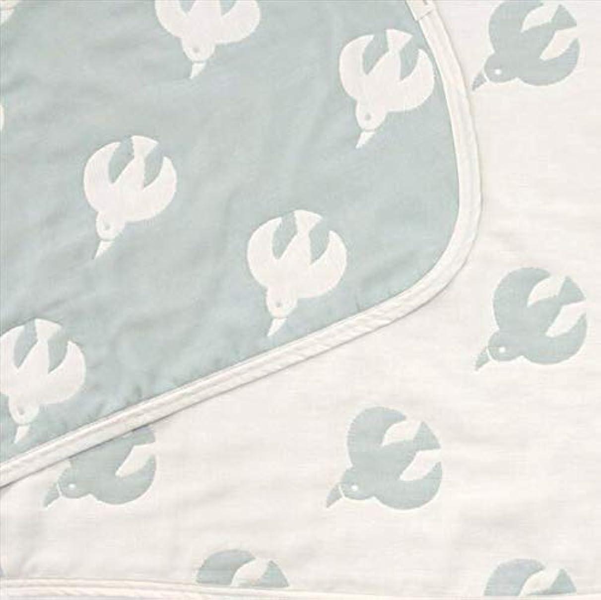 やむを得ない姓白内障Hanzam Cocoa(ハンザムココア) 6重ガーゼケット 6重 タオルケット ブランケット ひざ掛け ギフト 出産祝い おなかけっと 動物シリーズ tori柄 ブルーグレー ハーフサイズ(100×140cm) 日本製(三河木綿)