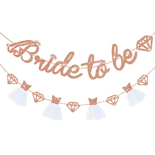 pinkblume Rose Gold Bride To Be Banner Sign Double Sided Glitter Paper 3D Wedding Dress Diamond Bride Garland for Bridal Shower Wedding Engagement Bachelorette Hen Party Decorations Supplies