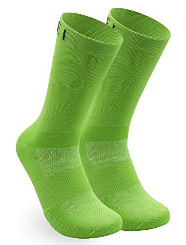 NORTEI Calcetines Verdes para Ciclismo, MTB y Running de Caña Alta para Hombre y Mujer – Infinity Green (L (43-45))