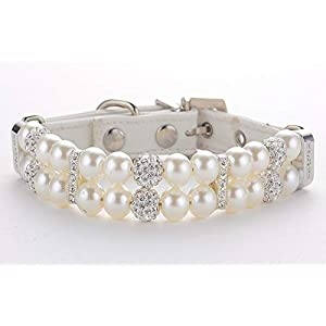 KUDES Dog Cat Pearl Collars with Crystal Rhinestone Diamond Décor, Adjustable Cute Fashion Pet PU Leather Collars Necklace for Small Dog Pets Wedding Birthday Party