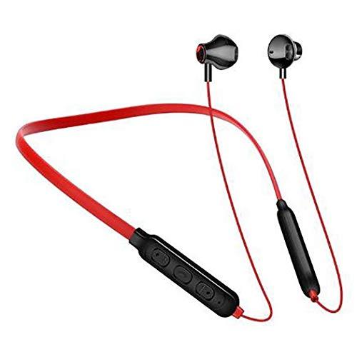 HJQFDC Auriculares inalámbricos Bluetooth 5.0 estéreo en la oreja HiFi auriculares de dos canales, tiempo de espera 7 días, auriculares, color rojo (color: rojo)