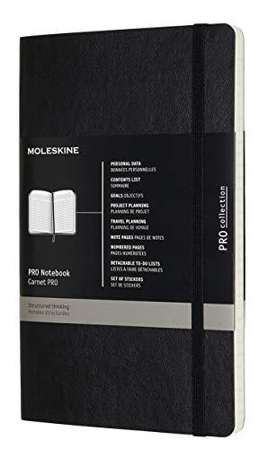 Moleskine Pro Notebook, Taccuino Professionale da Ufficio, Copertina Morbida e Chiusura ad Elastico, 192 Pagine, Formato Large, Colore Nero