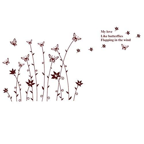 Gardens2you-Home-Adesivo da parete con motivo a fiori e farfalle con x 60,96 cm (24') 88,90 (35 cm, colore: marrone