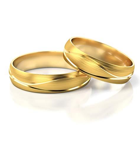 JC Gold Trauringe - Gelbgold Eheringe inklusive Gravur im Paarpreis PL282 (14 Karat (585) Gelbgold)