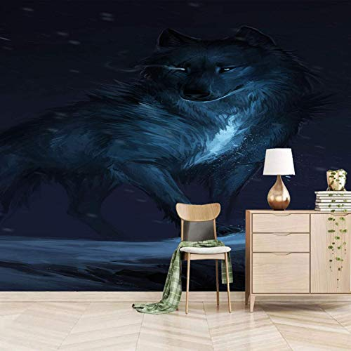 Msrahves papel pintado pared dormitorio Lobos animales noche Fotomural TV Mural papel pintado fotomurales murales pared papel para pared foto 3D mural pared decorativo Papel tapiz estéreo 3D