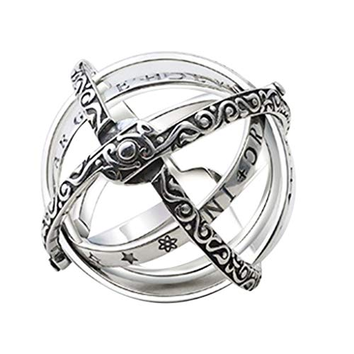 jieGorge Rings, Openable Ring Astronomical Ring Vintage Science Jewelry, Jewelry for Women Gifts (Silver 10)