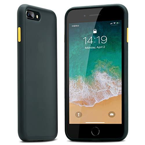BENKS Hülle für iPhone 8 Plus/7 Plus Hüllen Scrub Matte Translucent Rückenschale mit TPU Weiche Stoßstange Schutzhülle,Anti-Drop, Anti-Fall,Handyhülle für iPhone 7 Plus/8 Plus -Schwarz