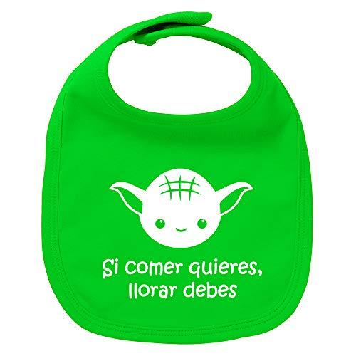 Babero de bebé Si comer quieres, llorar debes (Yoda/Star Wars - parodia). Regalo original. Babero bebé divertido. Bebé friki. (Verde)