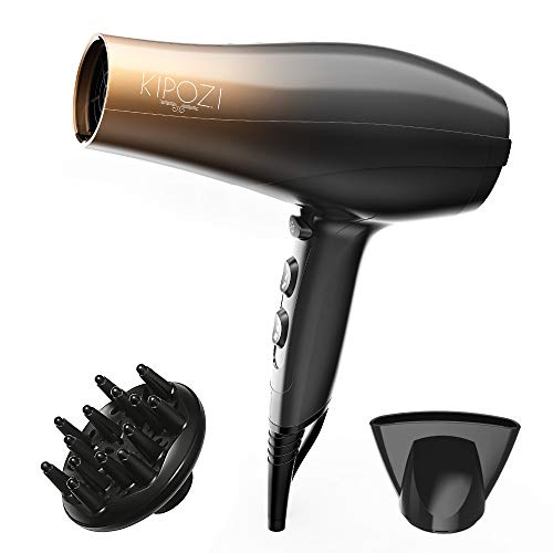 KIPOZI 1875W Professional Hair Dryer, Nano Ionic Fast Dry Hair Blow dryer with Diffuser and...