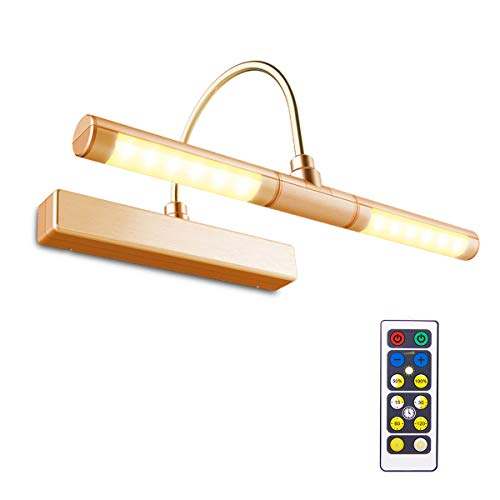 BIGLIGHT Wireless Battery Powered Bright LED Picture Light with Remote Control, 13 Inch Swivel Light Head with 3 Lighting Modes, Dimmable Lamp for Painting Photo Portrait Art Picture Frame, Copper