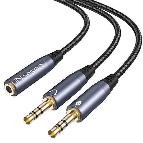 INassen Adaptador Jack De 3,5 Mm Micro Y Auriculares Audio Adaptador 1 X 3,5 Mm Hembra 2 X 3,5 Mm, Auricular Y Micrófono Separadas Hembra Para Auriculares Para PC Gaming Headset, PS4, Xbox One, Laptop