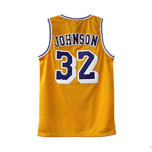 NBA Lakers 32# Magic Johnson Maglia da Basket Jerseys retrò Ricami Uniformi Abbigliamento Sportive da Allenamento,Yellow-XL